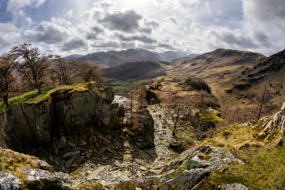 Borrowdale looking towards Seatoller from Castle Crag quarry